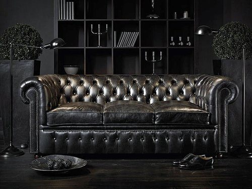 All Black Sofa Bachelor Pad Furniture Ideas