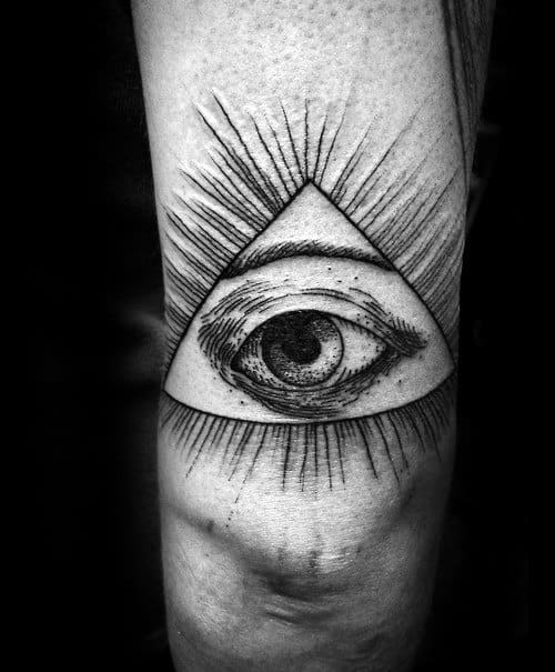 All Seeing Eye Back Of Arm Male Tattoos