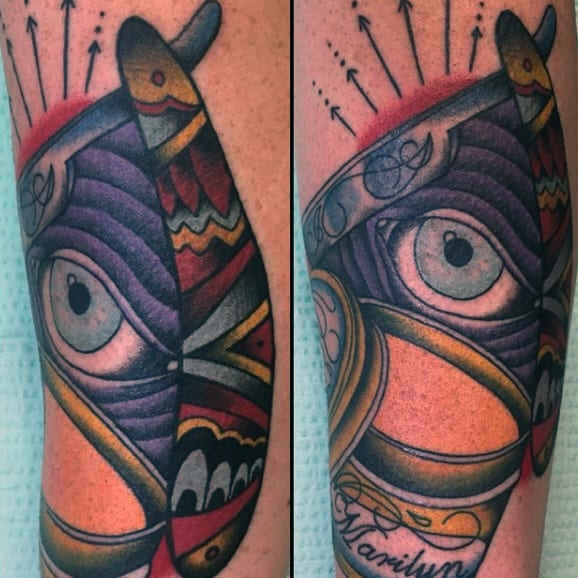 All Seeing Eye Barber Guys Tattoo With Straight Razor In Full Color Ink