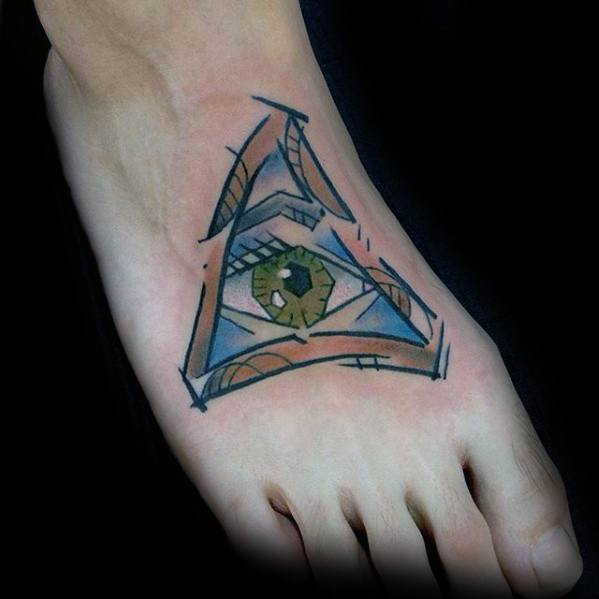 All Seeing Eye Cubism Mens Tattoo Designs On Foot