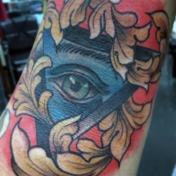 All Seeing Eye Filigree Mens Inner Elbow Tattoo