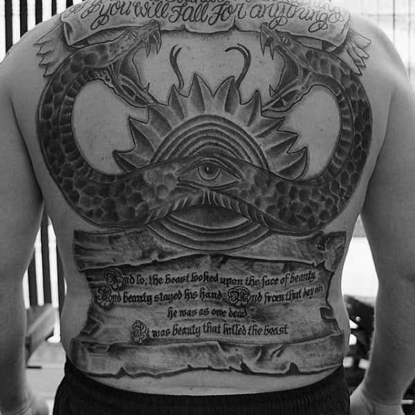 All Seeing Eye Guys Scroll Full Back Tattoos