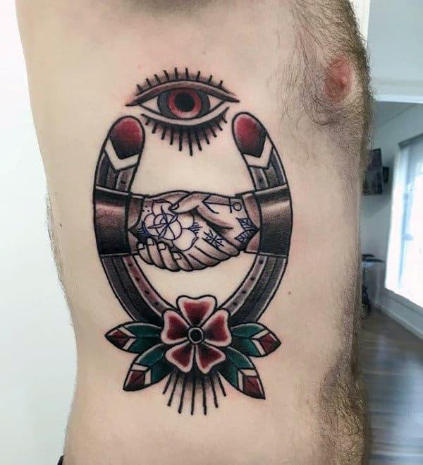 All Seeing Eye Handshake Horseshoe Mens Rib Cage Side Tattoos