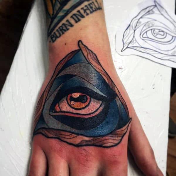 All Seeing Eye Illuminati Tattoo Male Hands