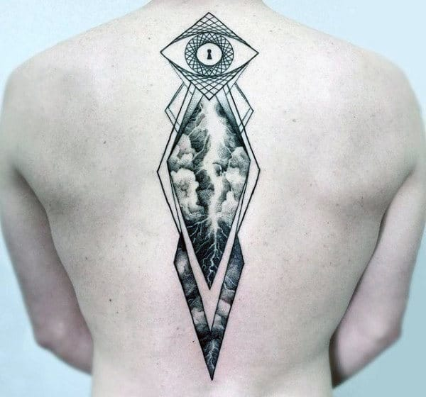 All Seeing Eye Keyhole Tattoo With Lightning Design Mens Spine Tattoos