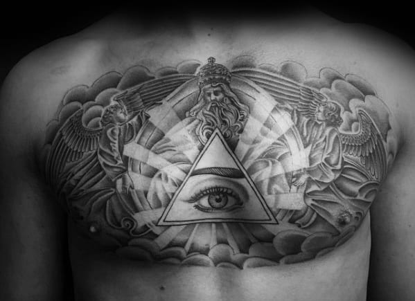 All Seeing Eye Male Cloud Chest Tattoo