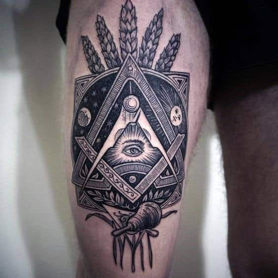 All Seeing Eye Masonic Mens Upper Thigh Tattoo Ideas