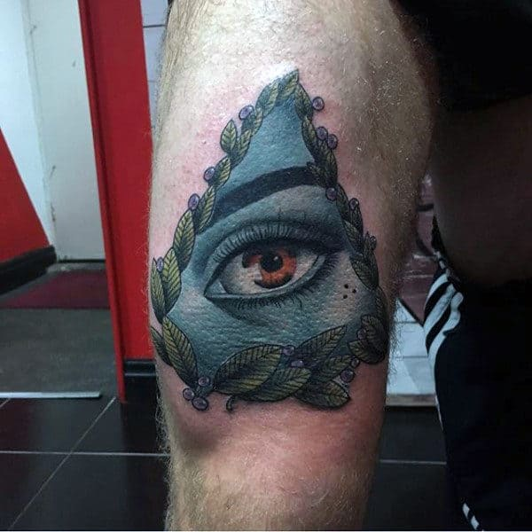 All Seeing Eye Mens Amazing Thigh Tattoo