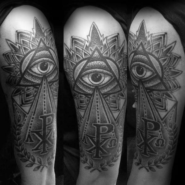 All Seeing Eye Mens Chi Rho Pyramid Tattoo On Arms