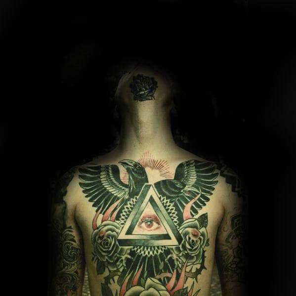 All Seeing Eye Mens Traditional Crow Full Chest Tattoos