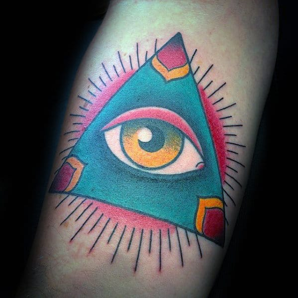 All Seeing Eye Mens Traditional Forearm Tattoo