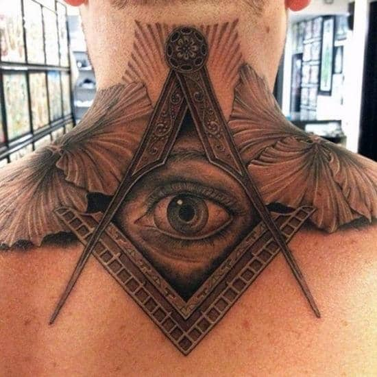 Top 40 best neck tattoos for men manly designs and ideas for Square city tattoo