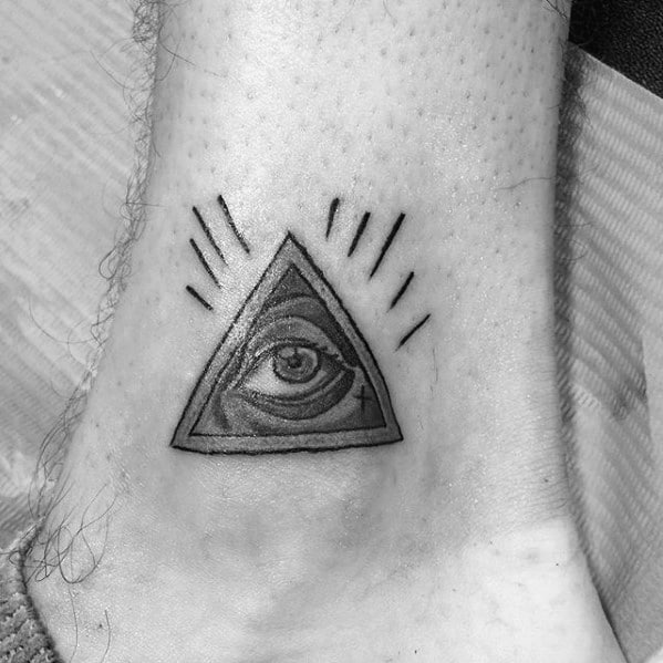 All Seeing Eye Old School Traditional Small Artistic Male Ankle Tattoo Ideas