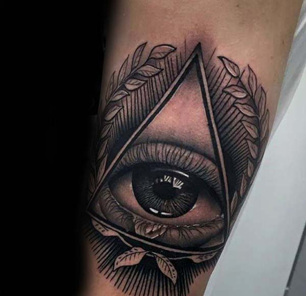 All Seeing Eye Olive Branch Triangle Mens Nice Inner Forearm Tattoo