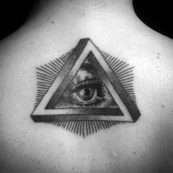 All Seeing Eye Penrose Triangle Tattoo Design Ideas For Males Upper Back