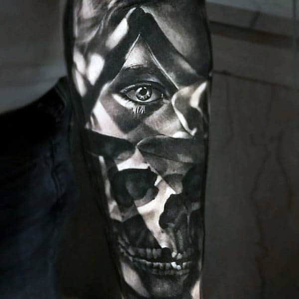 All Seeing Eye Skull Optical Illusion Forearm Sleeve Male Tattoo