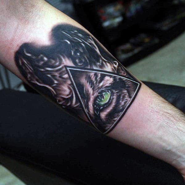 All Seeing Eye Tiger Triangle Mens Fire Inner Forearm Tattoo