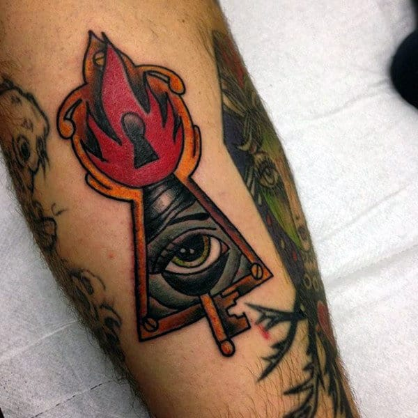 All Seeing Eye Triangle Keyhole Mens Tattoo With Gold Key