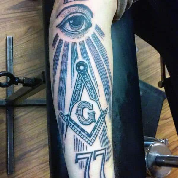All Seeing Eye With 77 Mens Masonic Arm Tattoo Ideas