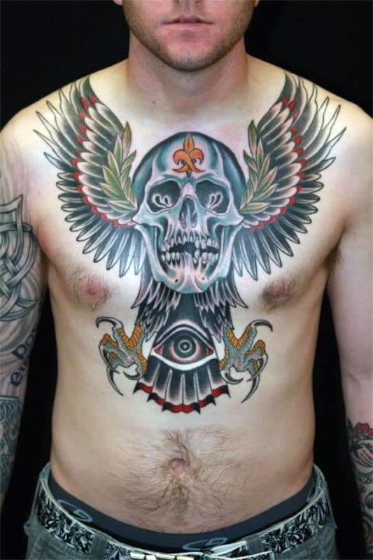 All Seeing Eye With Eagle Wings And Skull Male Chest Tattoos
