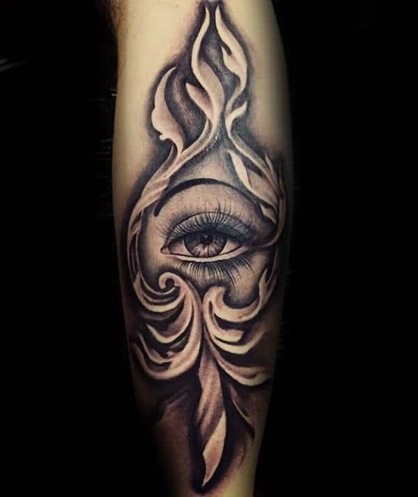 All Seeing Eye With Filigree Design Mens Forearm Tattoos