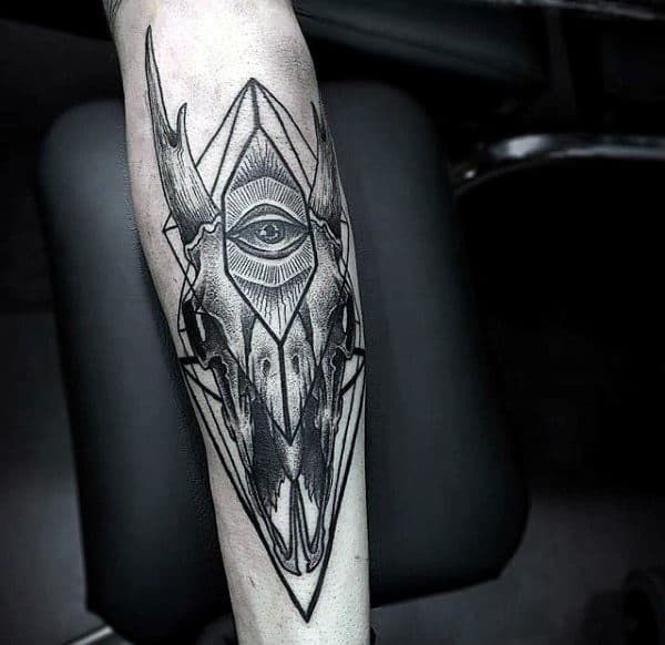 All Seeing Eye With Goat Skull Mens Geometric Outer Forearm Tattoo Inspiration