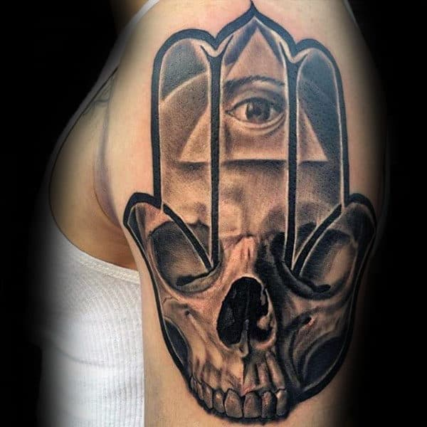 All Seeing Eye With Hamsa Skull Guys Arm Tattoos