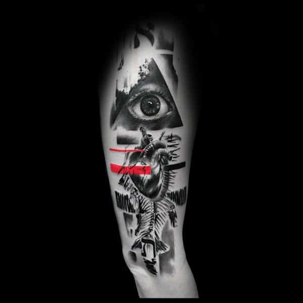All Seeing Eye With Heart Trash Polka Mens Arm Tattoos
