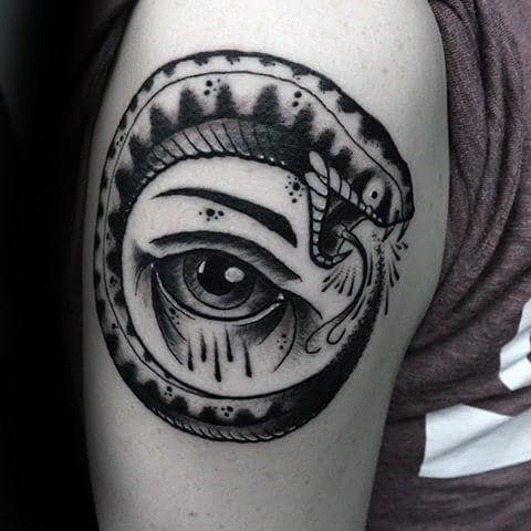 All Seeing Eye With Old School Snake Ouroboros Guys Arm Tattoo