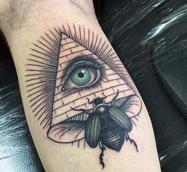 all seeing eye with pyramid and scarab mens leg calf tattoo