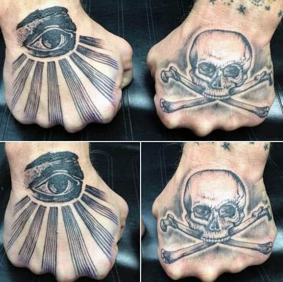 All Seeing Eye With Skull And Cross Bones Mens Hand Tattoos