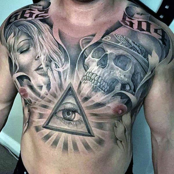All Seeing Eye With Skull Black Ink Mens Chest Tattoos
