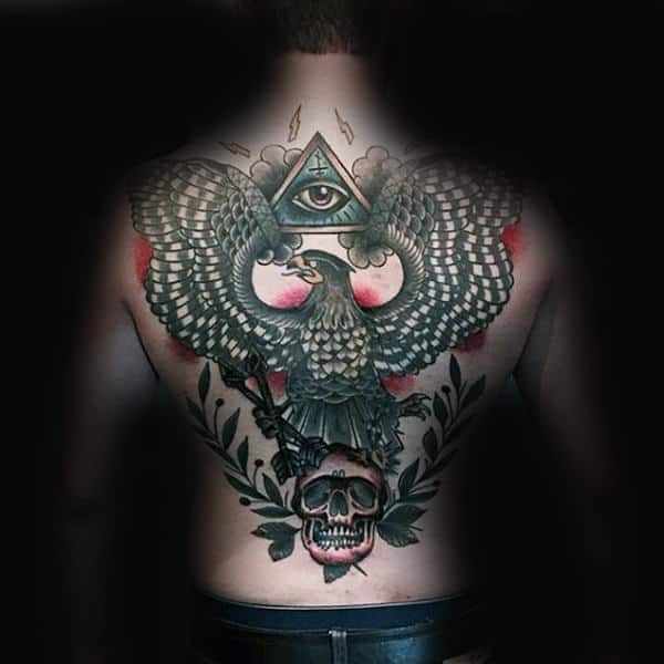 All Seeing Eye With Skull Falcon Full Back Tattoos For Men