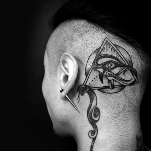 All Seeing Eye With Snake Guys Back Of Head Tattoos