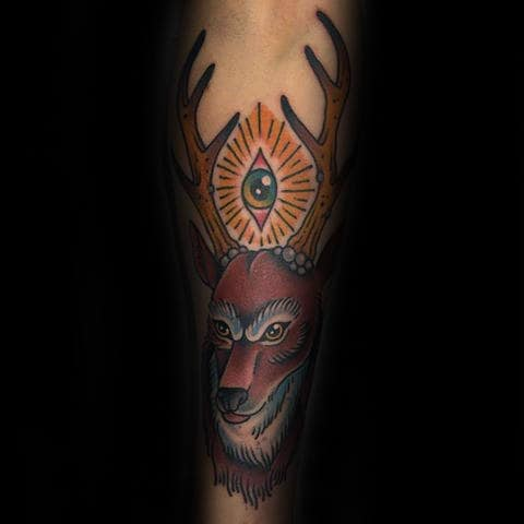 All Seeing Eye With Traditional Deer Male Forearm Tattoo Design Ideas
