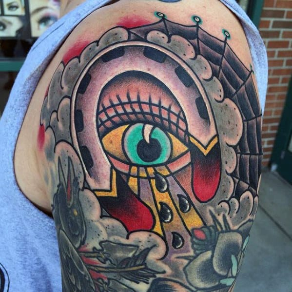 All Seeing Eye With Traditional Horseshoe Mens Half Sleeve Tattoo