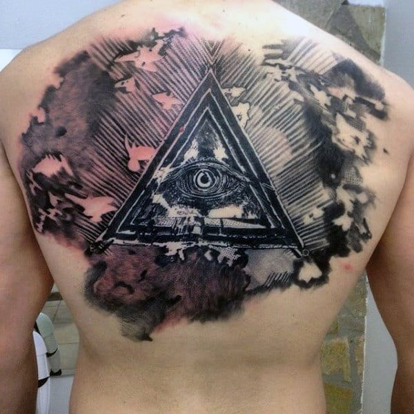 All Seeing Eye With Triangle Artistic Male Upper Back Tattoos