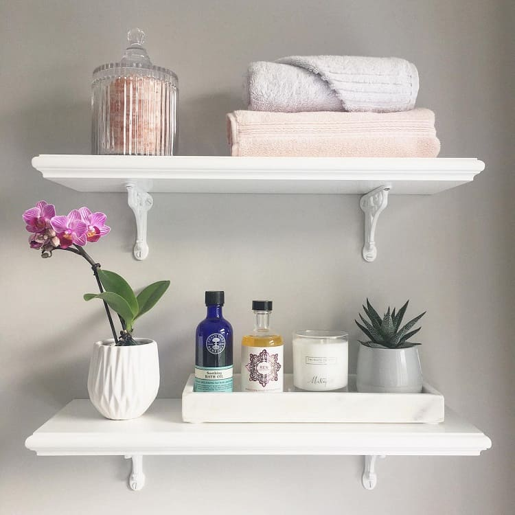 All White Beautiful Bathroom Shelf Brackets Restoring Number6