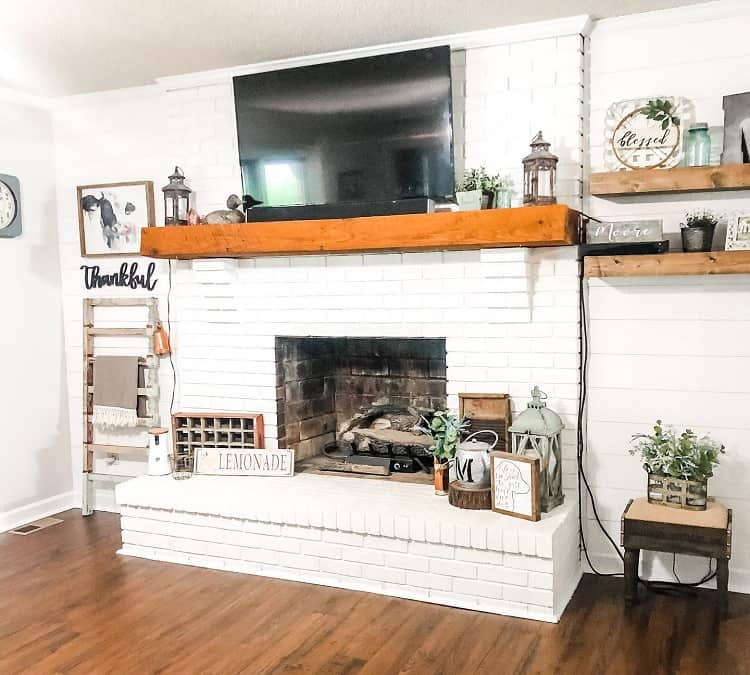 All White Brick White Fireplace Surround Countrypinesfarm