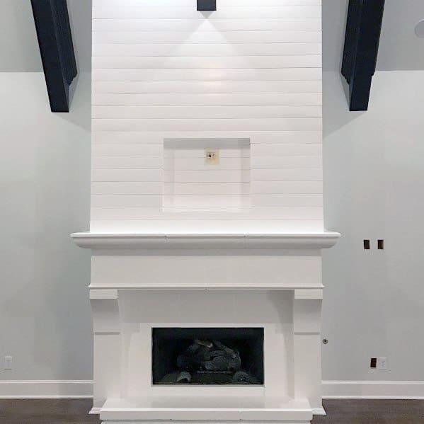 All White Contemporary Painted Fireplace Ideas