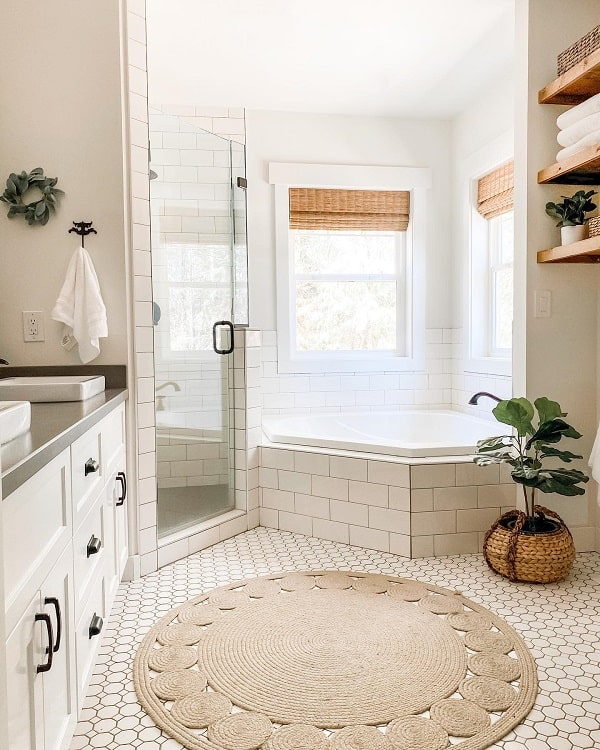 All White Farmhouse Bathroom Tub Lifeamongthecedars