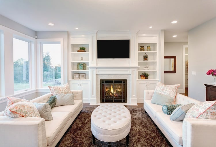 All White Fireplace Entertainment Center