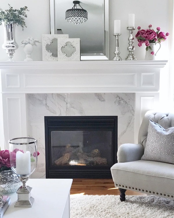 All White Marble Fireplace Surround Laurisawilliamsdesign