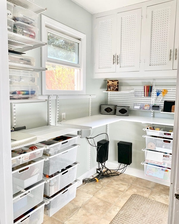 All White Simple Craft Room