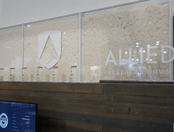 Allied Feather Down Display Outdoor Retailer Winter Market 2018