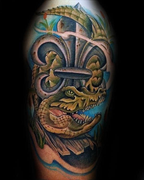 Alligator With Fleur De Lis Mens Half Sleeve Tattoo