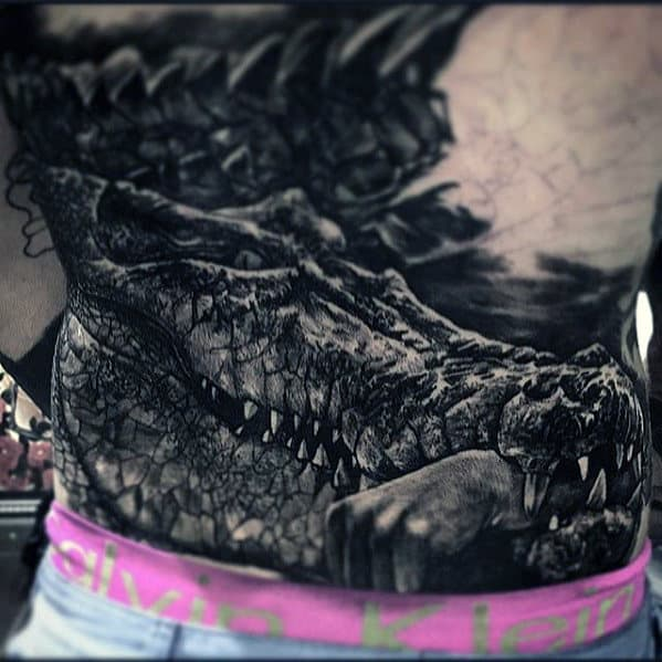 Alligator With Hand In Jaw Badass Back Tattoos For Men