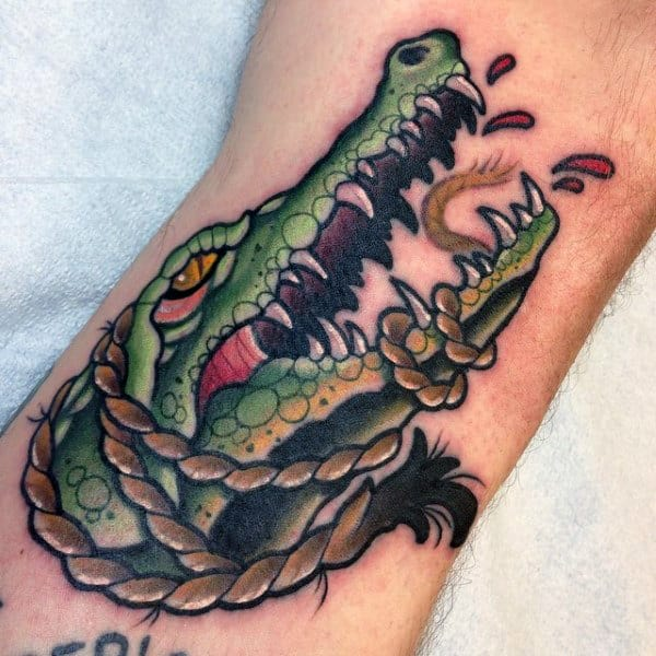 Alligator With Rope Tattoo Males Arms