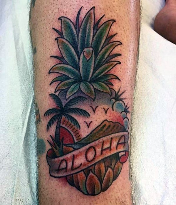 Aloha Banner Pineapple Guys Tattoos On Leg