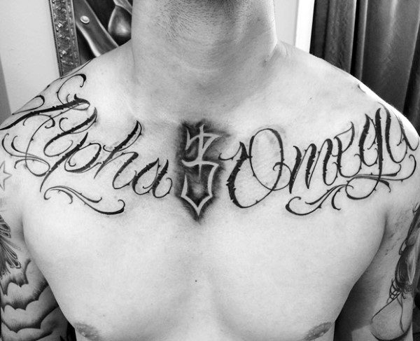 Alpha And Omega Collar Bone Lettering Tattoos For Guys